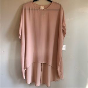 Meraki Taupe Nude Neutral Sheer Tunic Top Blouse
